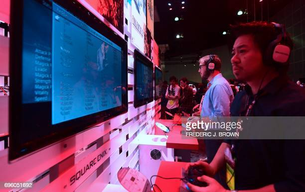 Gaming fans play 'Final Fantasy The Zodiac Age' from Square Enix on day two of E3 2017 the three day Electronic Entertainment Expo at the Los Angeles...