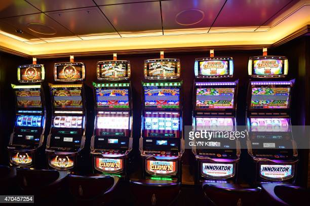 Gaming machines in the casino on board Royal Caribbean's latest cruise liner 'The Anthem Of The Seas' a 4905passenger ship which is docked in...