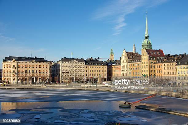 Gamla Stan, Old town, Stockholm, Sweden seen from Slussen in Winter sun.