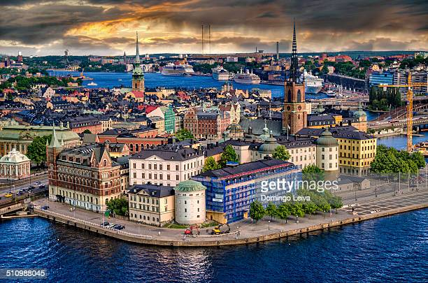 gamla stan panoramic - stockholm stock pictures, royalty-free photos & images