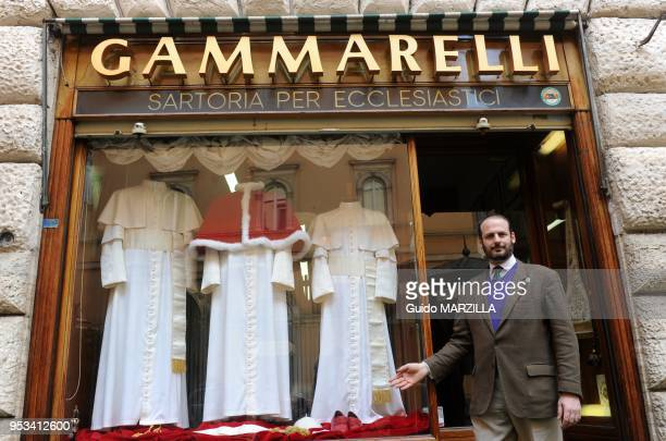 Gammarelli the Pope's Tailor displays new Papal Clothes on March 5, 2013 in Rome, Italy. Cardinals haven't even begun meeting in the Sistine Chapel...