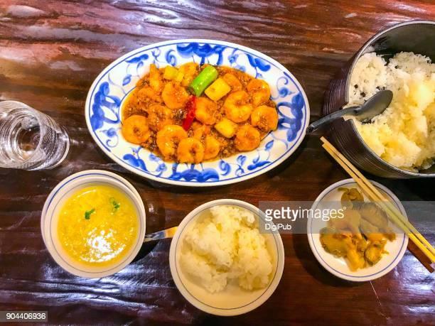 Gan Shao Xia Ren, ebi chili lunch on table