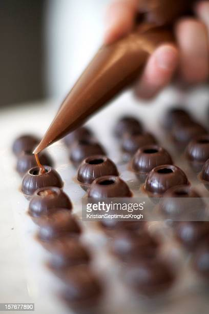 ganach filled chocolates - sweet shop stock pictures, royalty-free photos & images