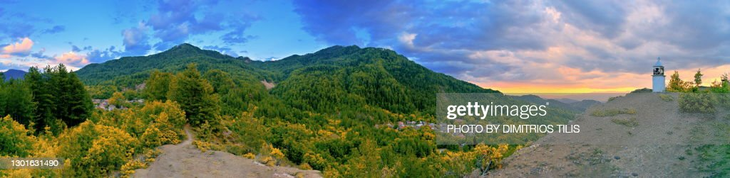 Ganadio and Molista stone villages panorama : Stock Photo