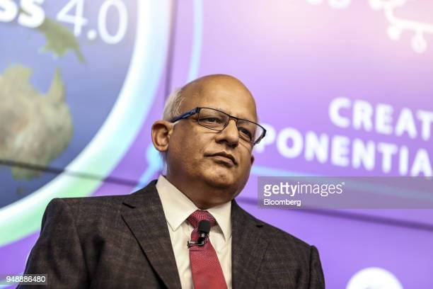 N Ganapathy Subramaniam chief operating officer of Tata Consultancy Services Ltd attends a news conference in Mumbai India on Thursday April 19 2018...