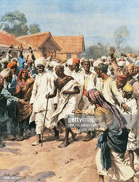 Gandhi and Eighty Martyrs going towards the Jalalpur saltmines Achille Beltrame from La Domenica del Corriere 1930