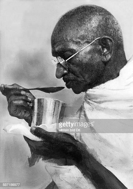 Gandhi Mahatma Politiker Indien Fuehrer der indischen Unabhaengigkeitsbewegung Profilaufnahme undatiert
