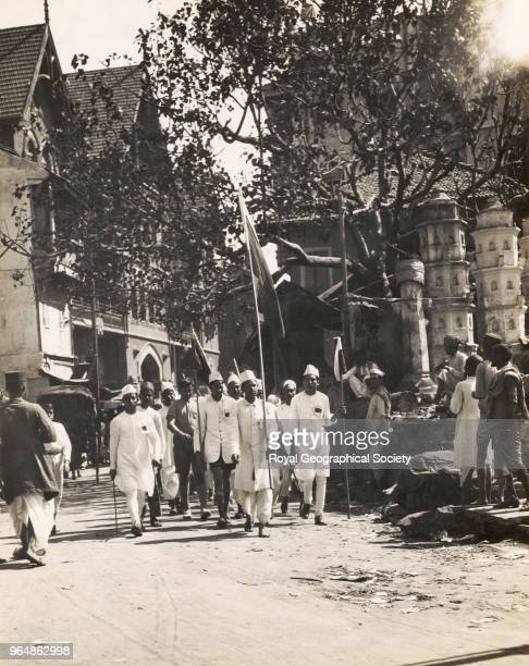 Gandhi Wallahs at Bombay This photograph shows supporters of Gandhi parading in the streets of Bombay India 1930