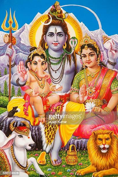 ganesh et ses parents, shiva et parvati - shiva stock pictures, royalty-free photos & images