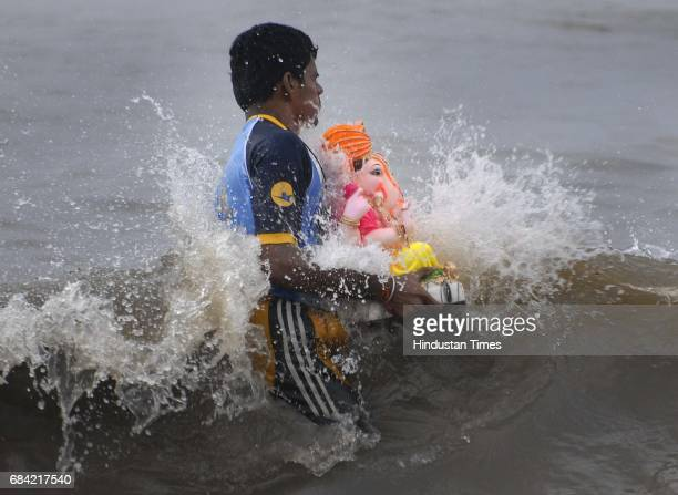 Ganesh idol immersion takes place at Shivaji Park Beach Dadar on Friday