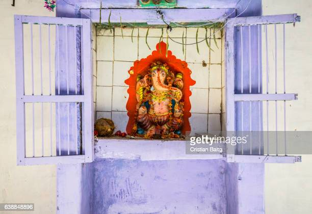 ganesha hindu shrine in the street in jodhpur india - ganesha stock pictures, royalty-free photos & images