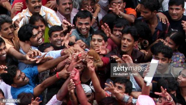 Ganeshotsav Ganpati Visarjan Devotees during the immersion of Lalbaug Cha Raja in Mumbai