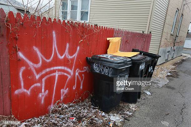 Gang graffiti is painted on a garage near the spot where Federico Martinez was gunned down two days ago on December 28 2012 in Chicago Illinois...