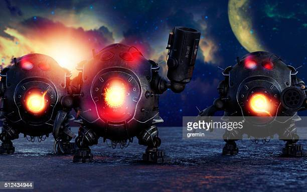 gang of evil robots - military invasion stock pictures, royalty-free photos & images