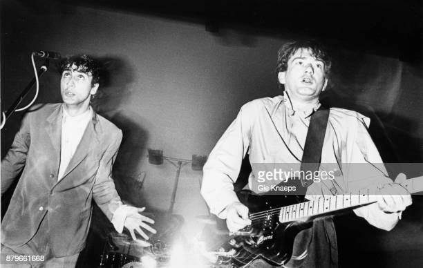 Gang Of Four Jon King Andy Gill performing on stage Hof Ter Lo Antwerp Belgium 2nd May 1981