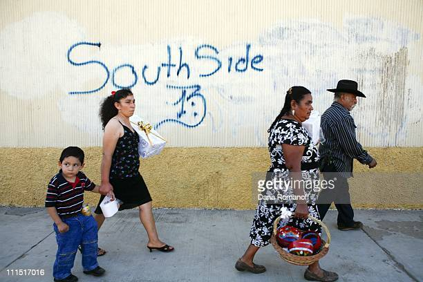 A gang sign is graffitied on the side of a building on the main avenue on November 15 2009 in the town of San Pablo Huixtepec Their is an increase of...