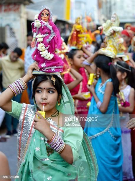 gangaur festival celebrations in udaipur, rajasthan. - gangaur stock pictures, royalty-free photos & images