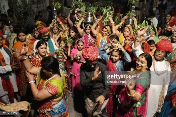 gangaur festival in jodhpur at rajasthan, india - gangaur stock pictures, royalty-free photos & images