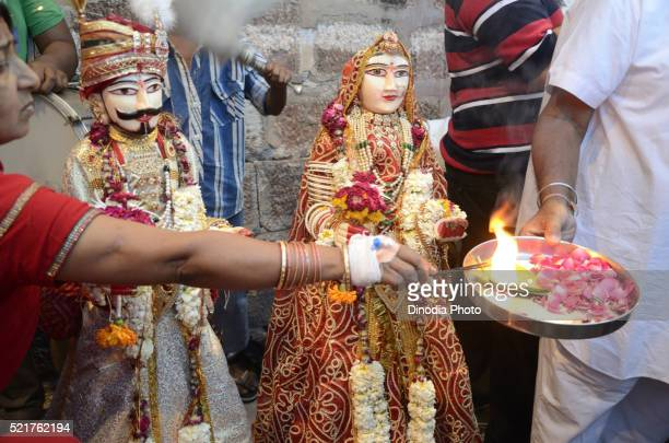 gangaur puja in jodhpur at rajasthan, india - gangaur stock pictures, royalty-free photos & images