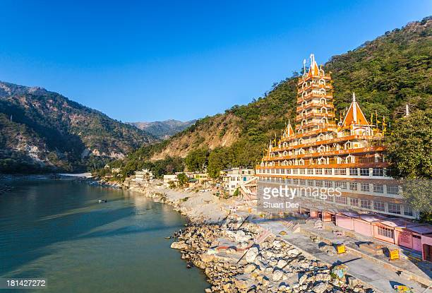 Ganges and Temple, Rishikesh, India