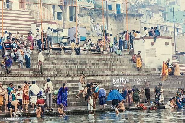 Ganges river bathers