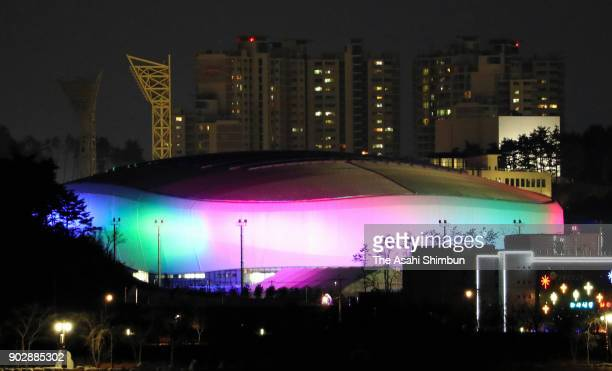 Gangneung Ice Arena is illuminated ahead of one month to go to the PyeongChang Winter Olympics on January 8 2018 in Gangneung South Korea
