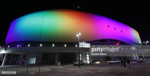 Gangneung Ice Arena which will host events such as figure skating at the 2018 Pyeongchang Winter Olympics is lit up in Gangneung South Korea on Feb 8...
