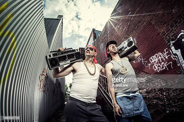 gangstas with boomboxes - downtown comedy duo stock pictures, royalty-free photos & images