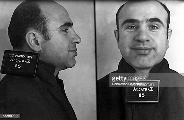 Ganster Alphonse 'Al' Capone poses for a mugshot on his arrival at the Federal Penitentiary at Alcatraz on August 22 1934 in San Francisco California