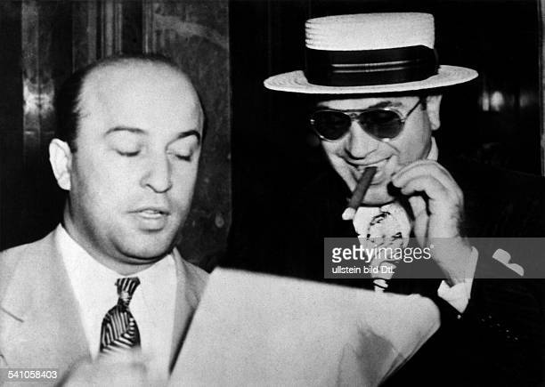 Gangster bosser Al Capone and his attorney Teitelbaum. 1931