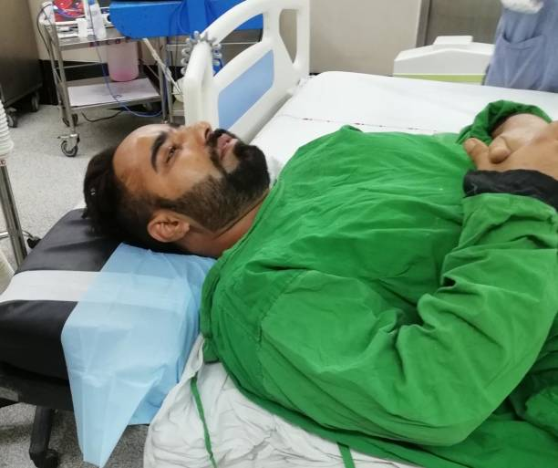 Gangster Dilpreet Singh under treatment at PGIMER hospital at sector 12 on July 9 2018 in Chandigarh India Dreaded gangster Dilpreet Singh Baba has...
