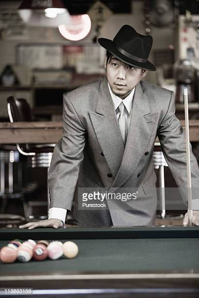 Gangster in pool hall