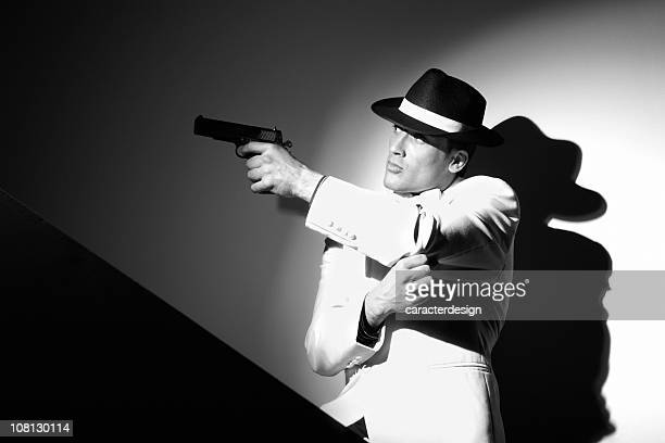 Gangster Man Holding Gun, Black and White