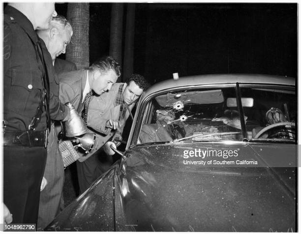 Gangsters shooting 07 August 1951 Frederick Newbarr S Ernest Roll William Parker George Wheeler Al GuastiJoe White Mr and Mrs Ben HaymanLieutenant...