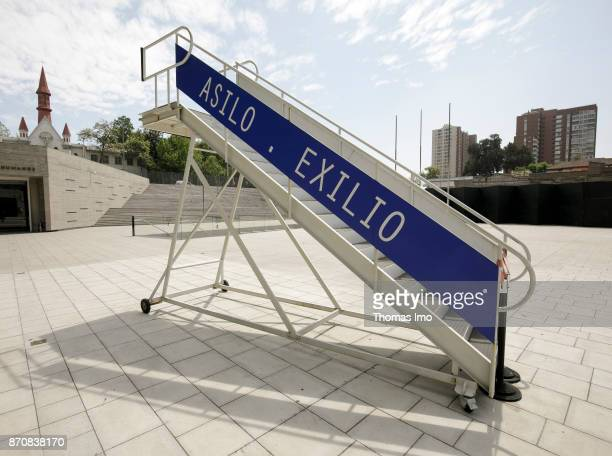 Gangway marked 'ASILO EXILIO' at the Museo de la Memoria y los Derechos Humanos Museum of Remembrance and Human Rights on October 16 2017 in Santiago...