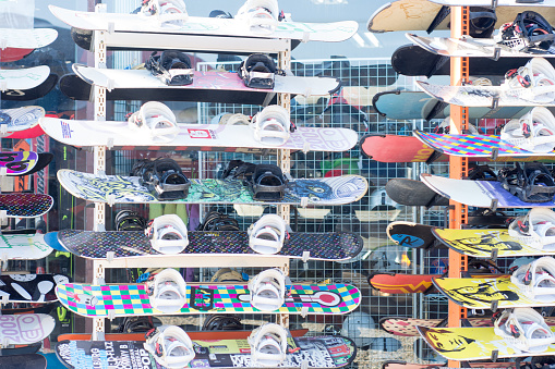 Gangwon-do, South Korea - 10 December 2018 Bunch of skis ready to be rented to skiers for the Winter season at The Vivaldi Park Resort in Gangwon-do, Seoul. - gettyimageskorea