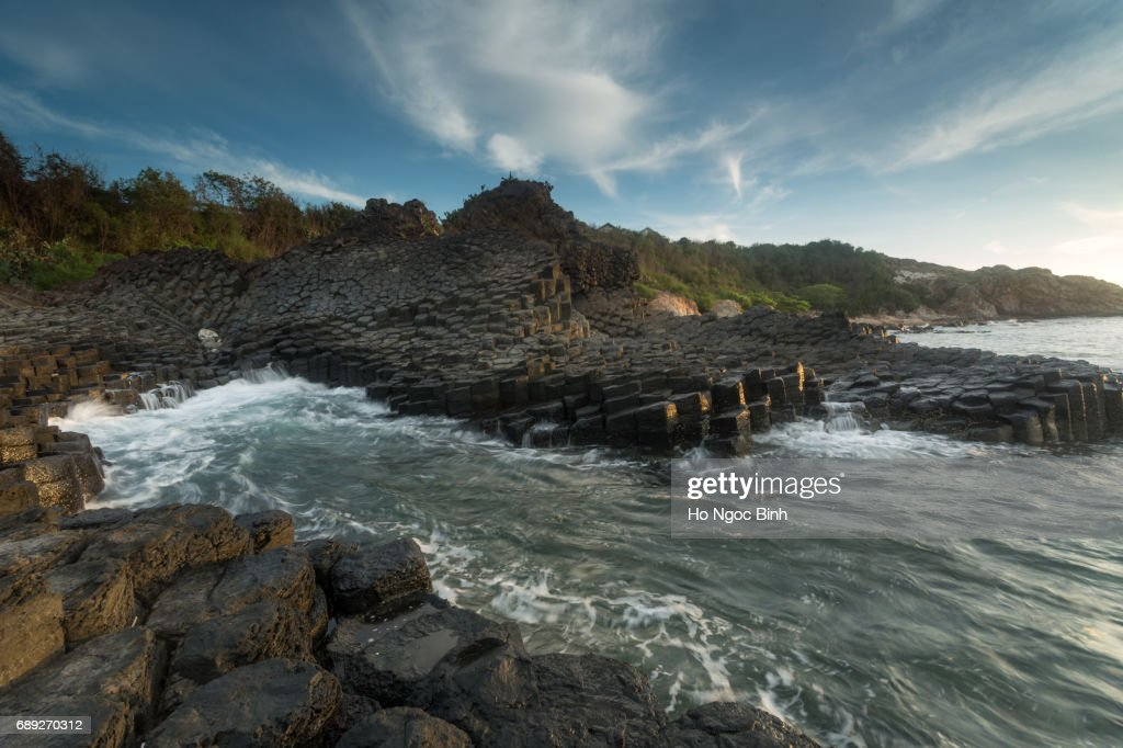 Ganh Da Dia or Ghenh Da Dia or Da Dia Rapids at Tuy Hoa, Phu Yen, Viet Nam, with amazing nature landscape at seaside, fantastic shape make interesting place for Vietnam travel,beautiful panoramic : Stock Photo