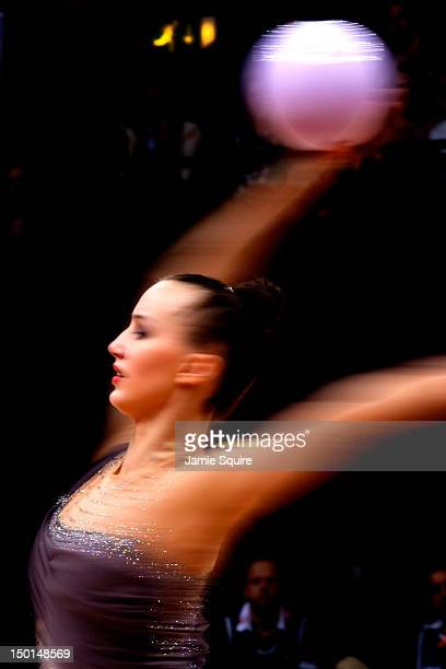 Ganna Rizatdinova of Ukraine competes during the Individual All-Around Rhythmic Gymnastics final on Day 15 of the London 2012 Olympics Games at...