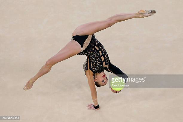 Ganna Rizatdinova of Ukraine competes during the Women's Individual AllAround Rhythmic Gymnastics Final on Day 15 of the Rio 2016 Olympic Games at...