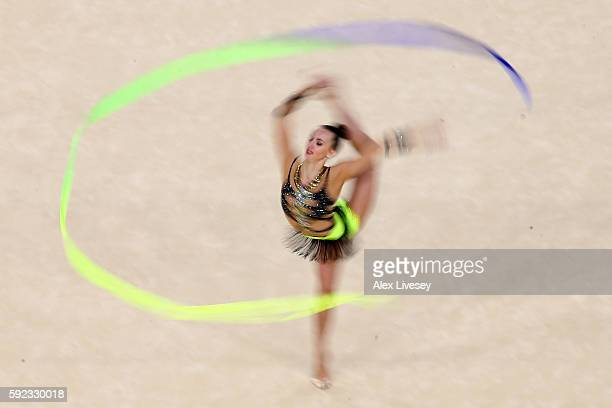 Ganna Rizatdinova of Ukraine competes during the Women's Individual AllAround Rhythmic Gymnastics Final on Day 15 of the Rio 2016 Olympic Games at...
