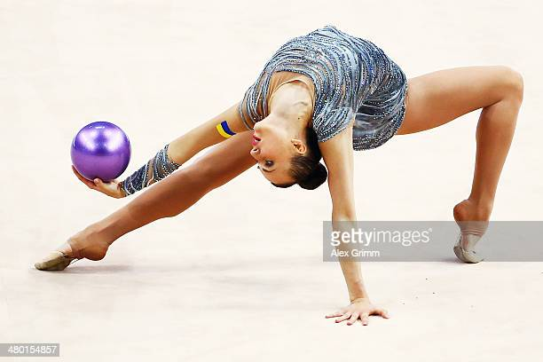 Ganna Rizatdinova of Ukraine performs during the individual ball final of the GAZPROM World Cup Rhythmic Gymnastics 2014 at the Porsche Arena on...