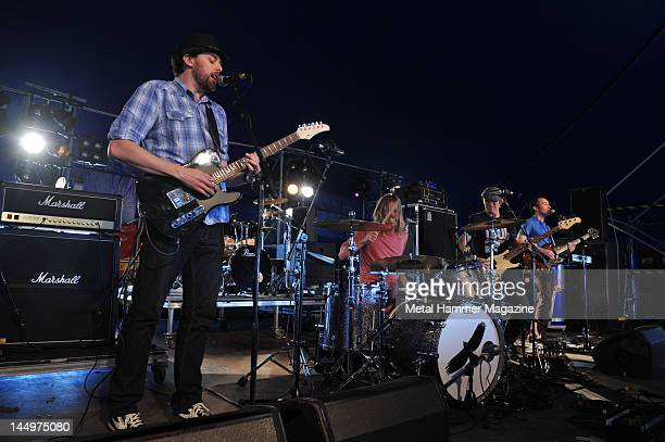 Gannin Arnold Taylor Hawkins Chris Chaney and Nate Wood of American rock group Taylor Hawkins And The Coattail Riders performing live on stage at...