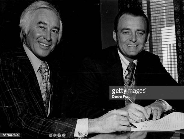 GanoDowns Co Sold In Formal Contract signing Ceremonies Robert A Berry left of San Francisco president of the Joseph Magnin chin of department stores...