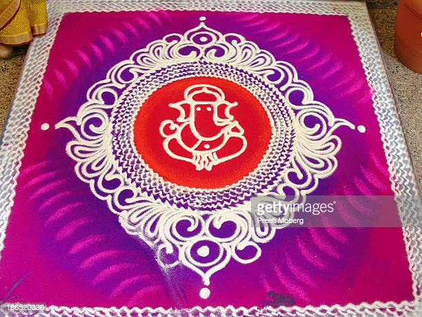 Ganpathi Rangoli Designs in Sand