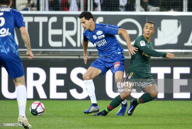 Ganso of Amiens Youri Tielemans of Monaco during the Ligue 1 match between Amiens SC and AS Monaco at Stade de la Licorne on December 4 2018 in...