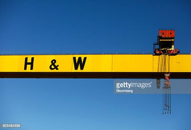 A gantry crane stands over the quay at the Harland Wolff Heavy Industries Ltd facilities in the Port of Belfast in Belfast UK on Wednesday Nov 23...