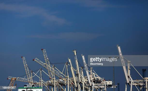Gantry crane structures stand on the dockside at the port of Koper operated by Luka Koper dd in Koper Slovenia on Thursday May 9 2013 The former...