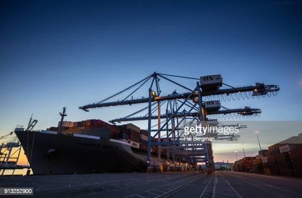 Gantry Cranes and Cargo Ship at Twilight