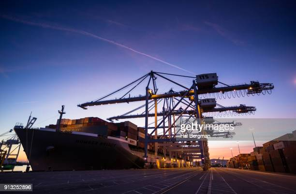 Gantry Cranes and Container Ship Lit Up at Twilight