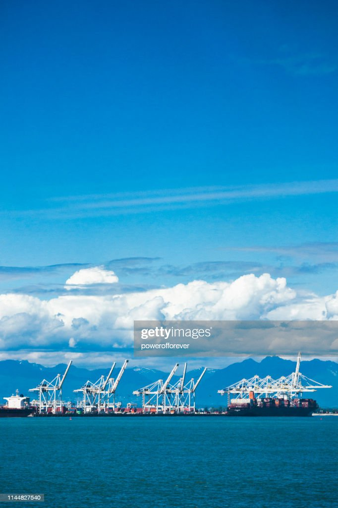 Gantry Cranes at the Port of Vancouver in British Columbia, Canada : Stock Photo